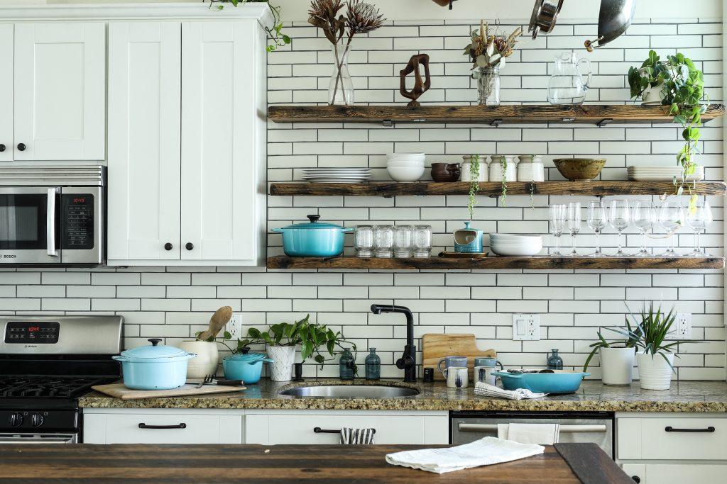 open shelving in kitchen - instagram post