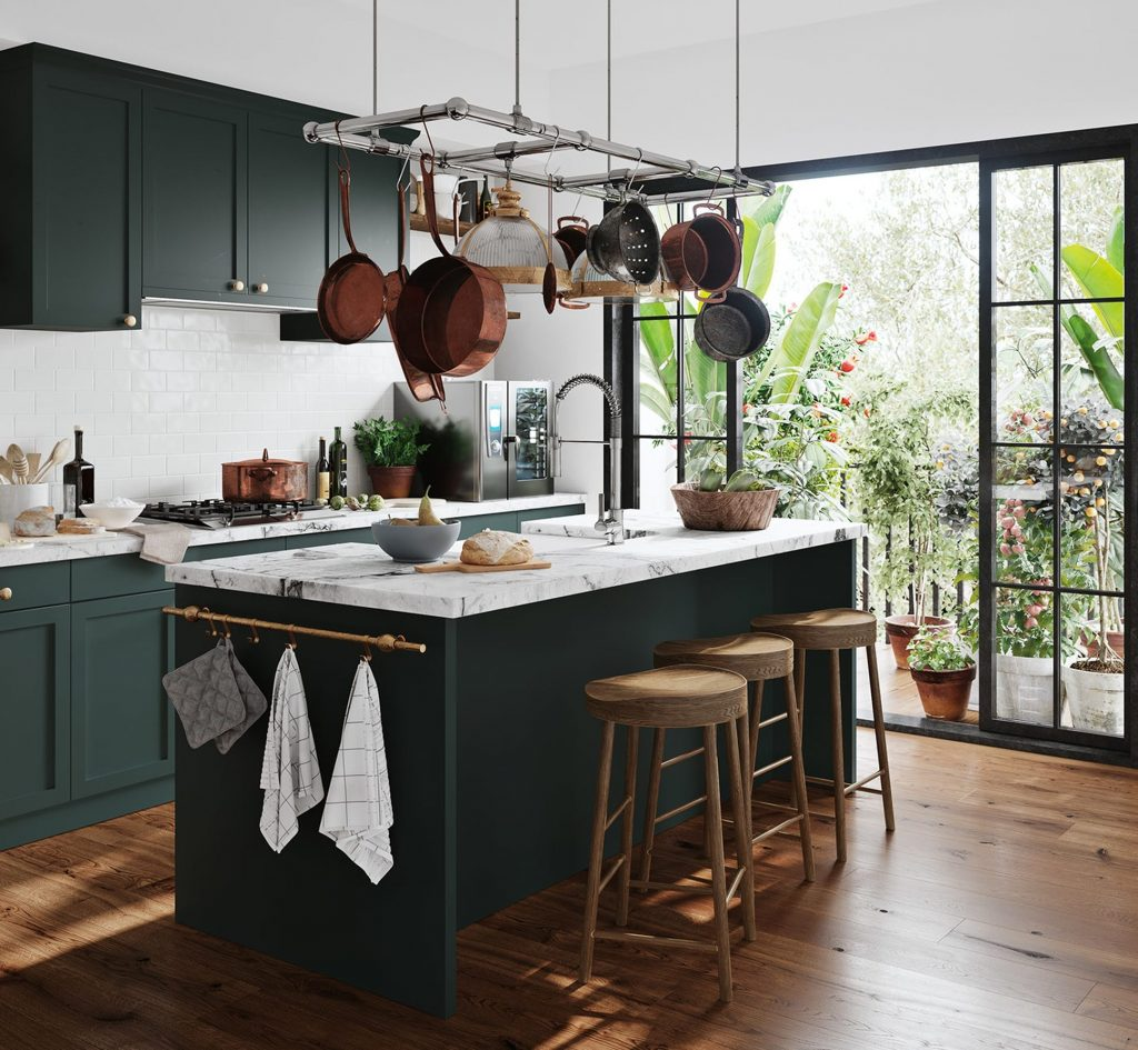 olive green colour kitchen - instagram post